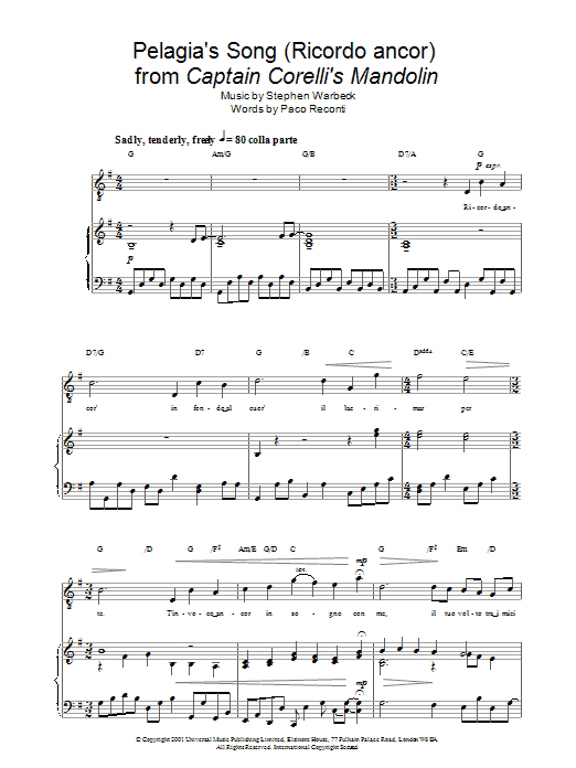 Mandolin mandolin tabs captain corellis mandolin : Pelagia's Song (Ricordo ancor) from Captain Corelli's Mandolin ...
