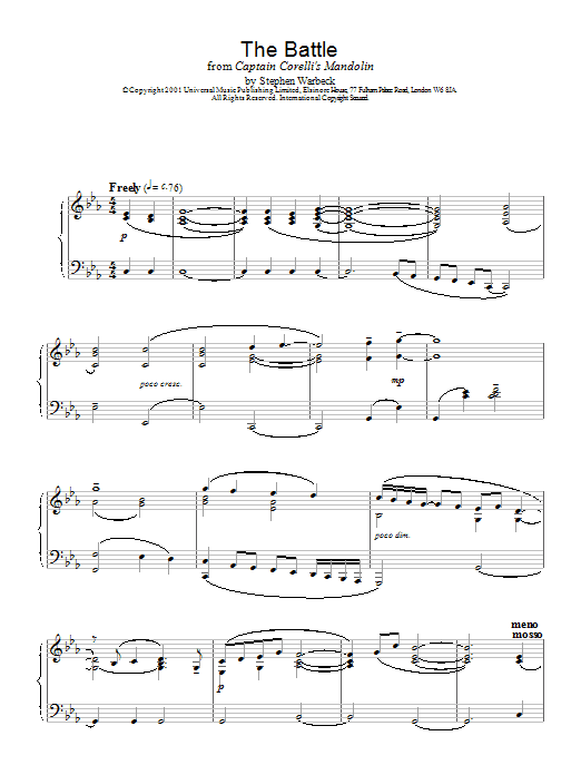The Battle (from Captain Corelli's Mandolin) Sheet Music