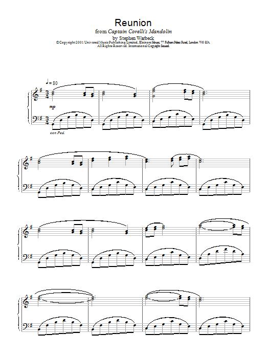 Reunion (from Captain Corelli's Mandolin) Sheet Music