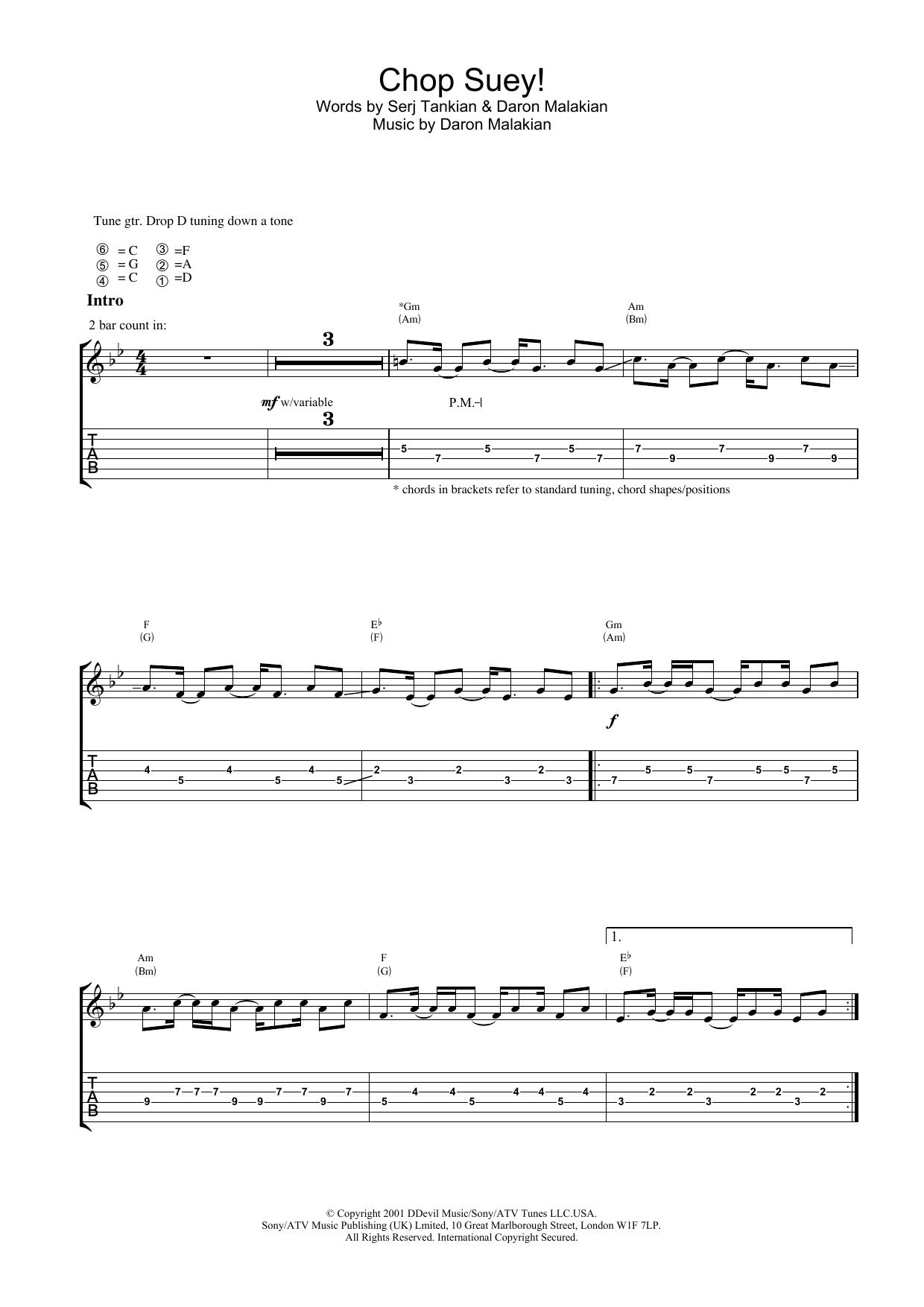 Chop Suey! Sheet Music
