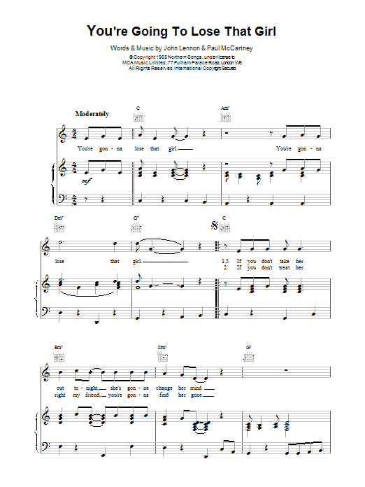 You're Going To Lose That Girl Sheet Music