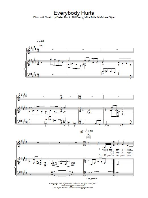 Everybody Hurts (Piano, Vocal & Guitar)