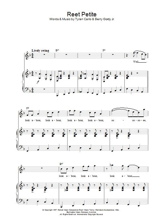 Reet Petite (Piano, Vocal & Guitar)