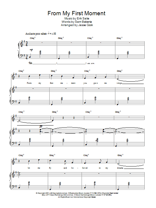 From My First Moment Sheet Music