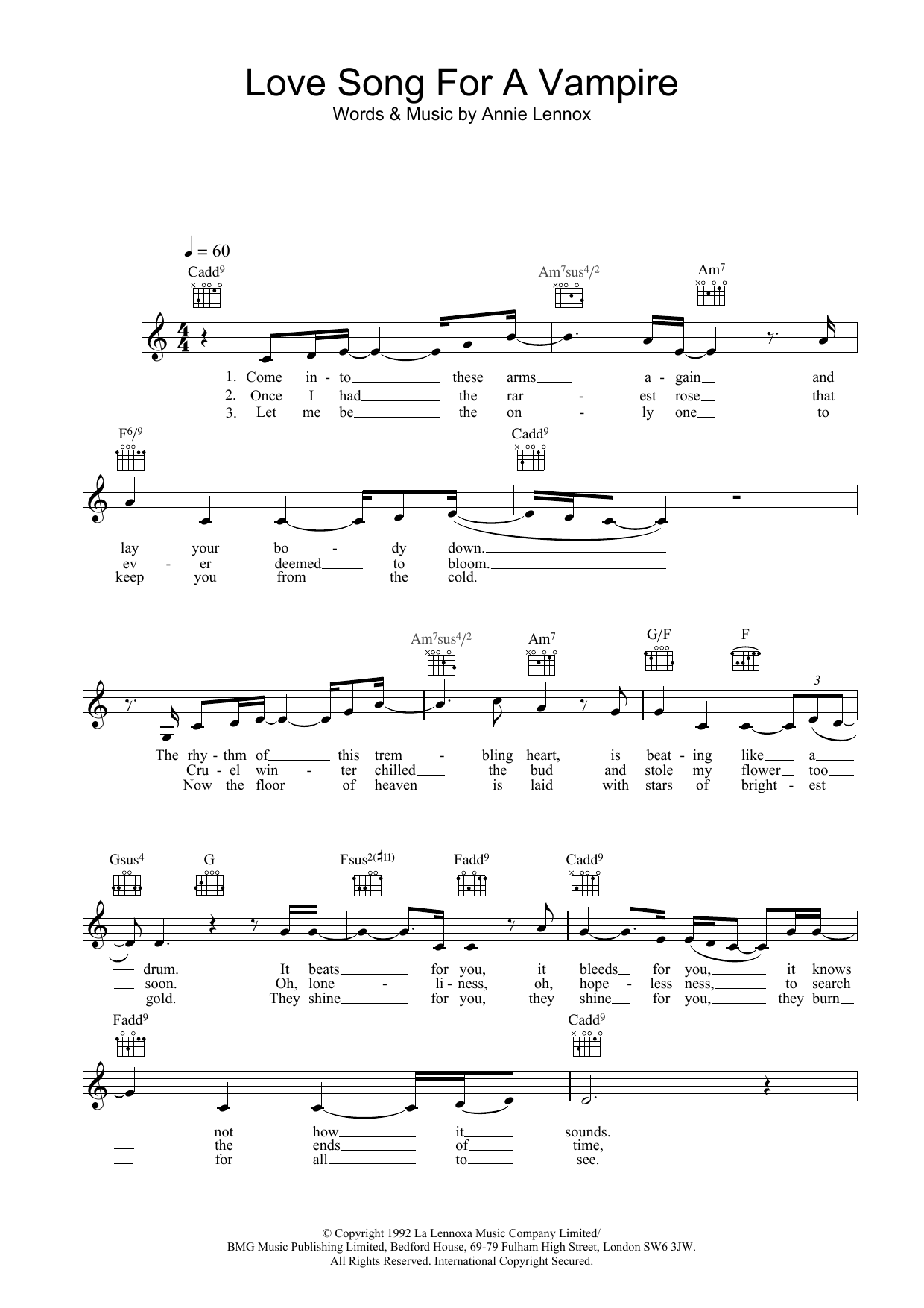 Love Song For A Vampire (Lead Sheet / Fake Book)