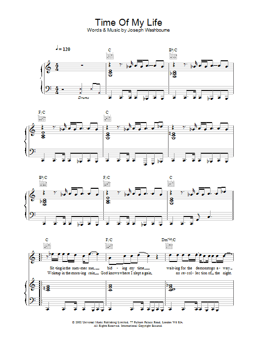 Time Of My Life Sheet Music