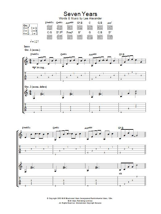 Seven Years Sheet Music