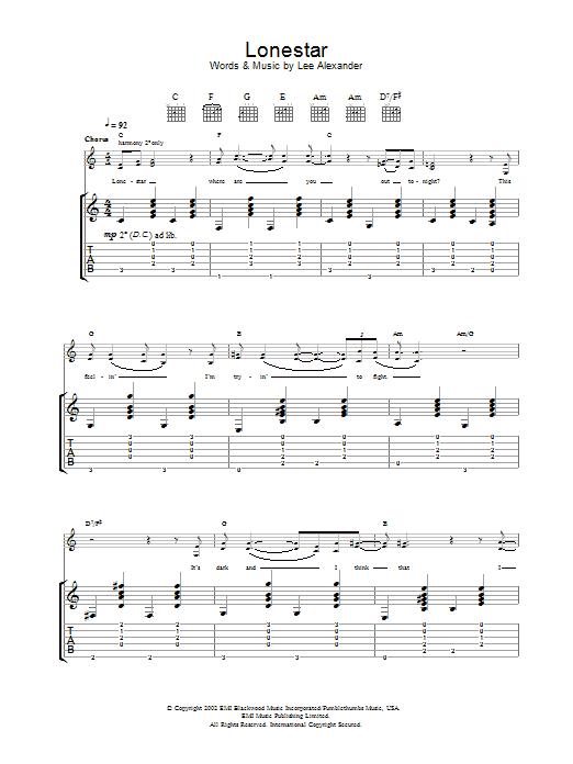 Lonestar Sheet Music