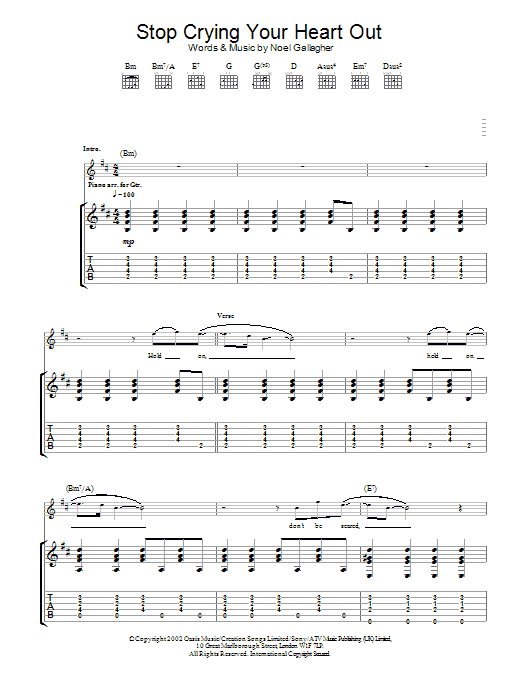 Stop Crying Your Heart Out By Oasis Guitar Tab Guitar Instructor