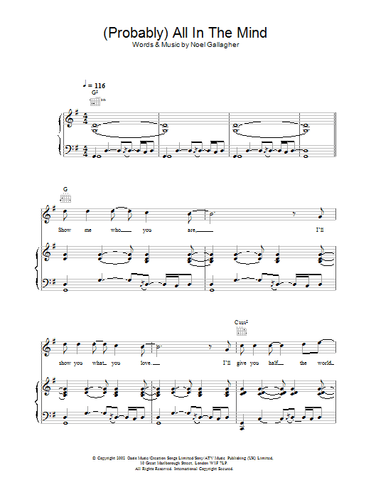 (Probably) All In The Mind Sheet Music