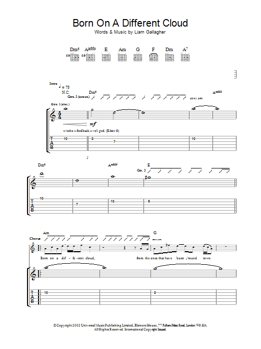 Born On A Different Cloud Sheet Music