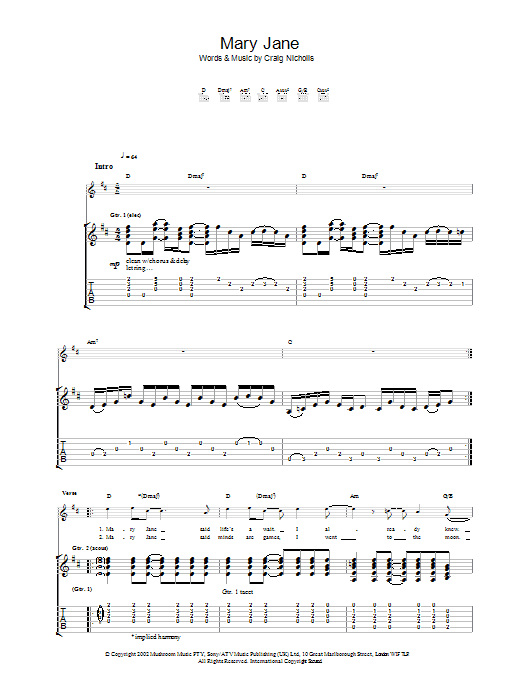 Mary Jane Sheet Music