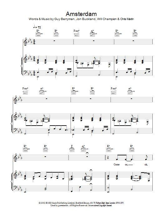O Fly On Coldplay Sheet Music Amsterdam | Sheet Musi...