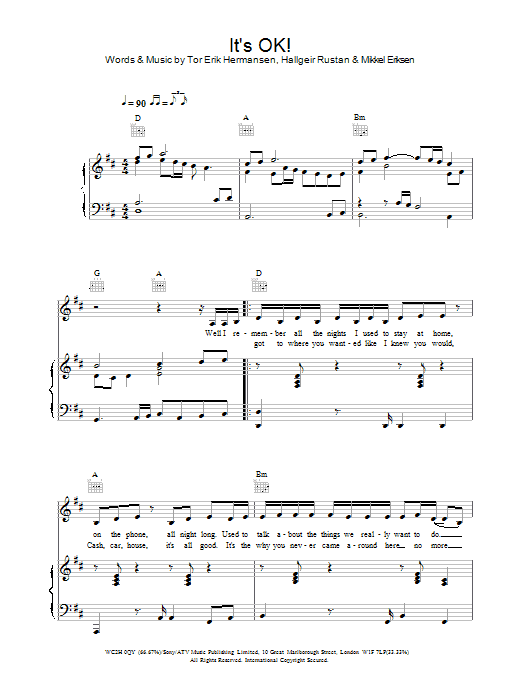 It's OK! Sheet Music