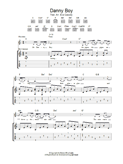 Danny Boy (Londonderry Air) | Eva Cassidy | Guitar Tab