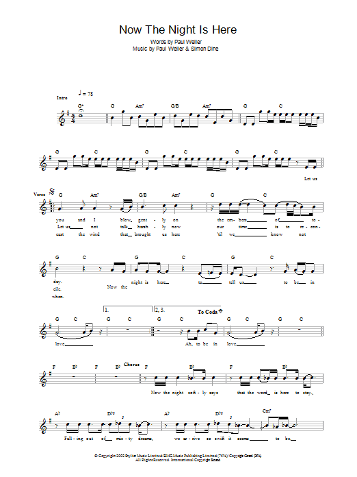 Now The Night Is Here Sheet Music