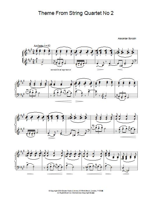 Theme From String Quartet No 2 Sheet Music
