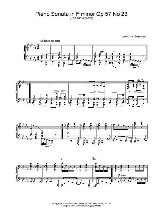 Piano Sonata in F minor Op.57 No.23 (Appassionata), 2nd Movement Sheet Music