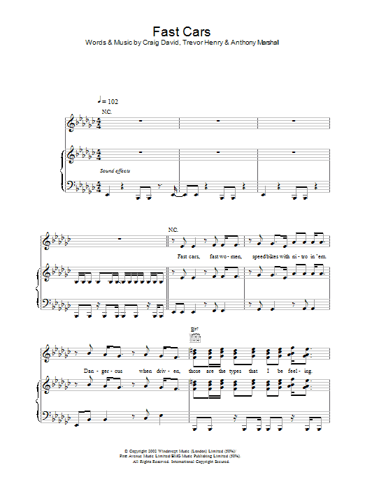 Fast Cars Sheet Music