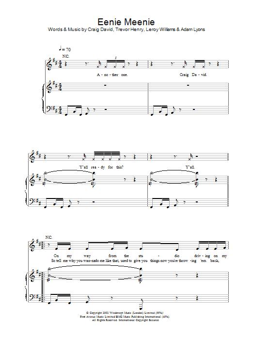 Eenie Meenie Sheet Music