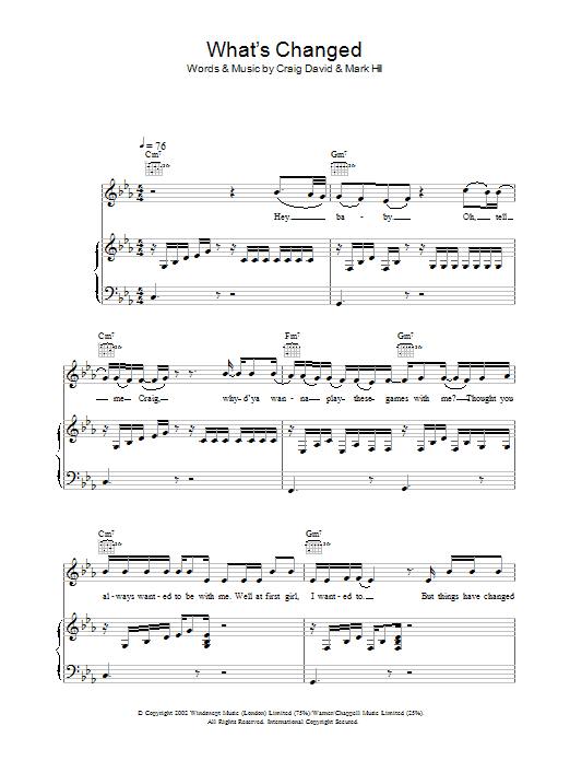 What's Changed Sheet Music