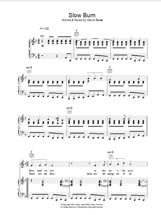 Slow Burn Sheet Music
