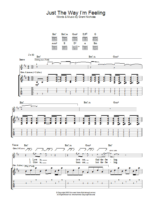 Just The Way I'm Feeling Sheet Music