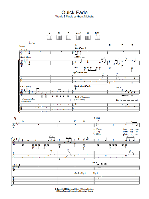 Quick Fade Sheet Music