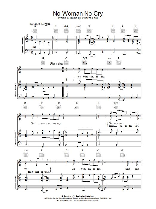 Partition piano No Woman No Cry de Bob Marley - Piano Voix Guitare