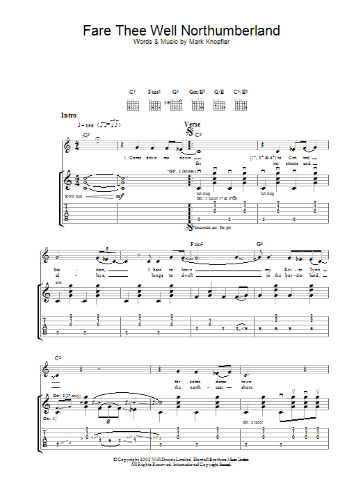 Fare Thee Well Northumberland By Mark Knopfler Guitar Tab Digital Sheet Music