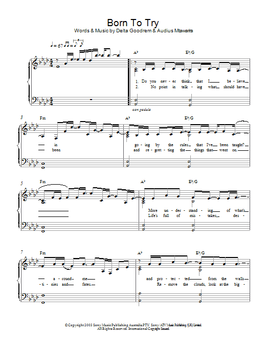 Born To Try Sheet Music