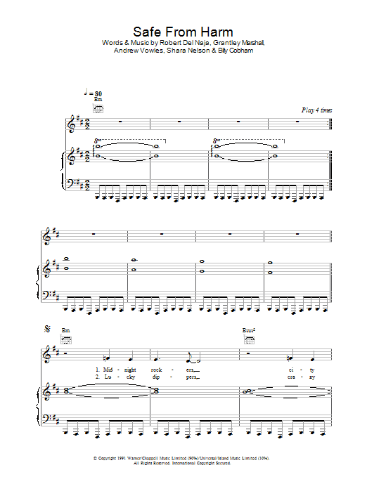 Safe From Harm Sheet Music
