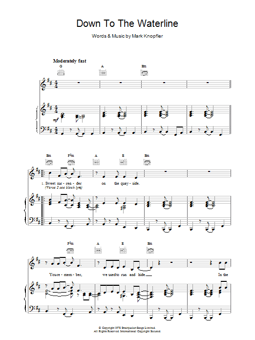 Down To The Waterline Sheet Music