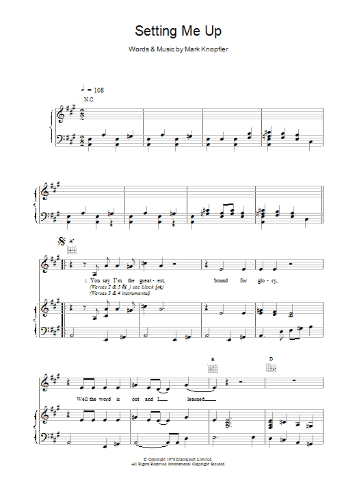 Setting Me Up Sheet Music