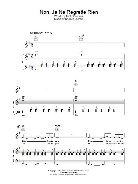 Non, Je Ne Regrette Rien (Piano, Vocal & Guitar)