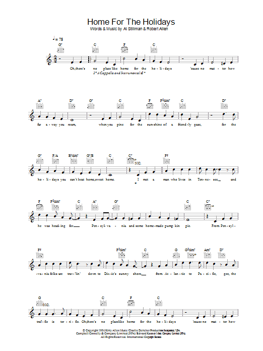 (There's No Place Like) Home For The Holidays (Lead Sheet / Fake Book)