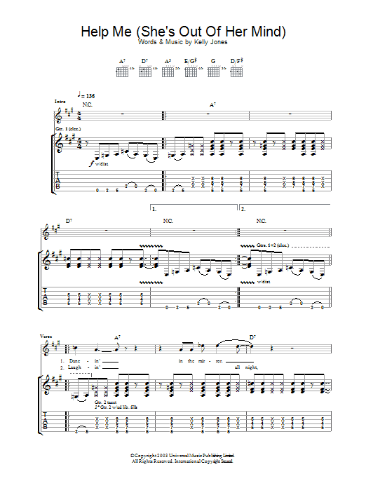 Help Me (She's Out Of Her Mind) (Guitar Tab)