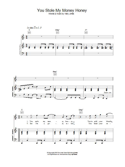 You Stole My Money Honey (Piano, Vocal & Guitar)