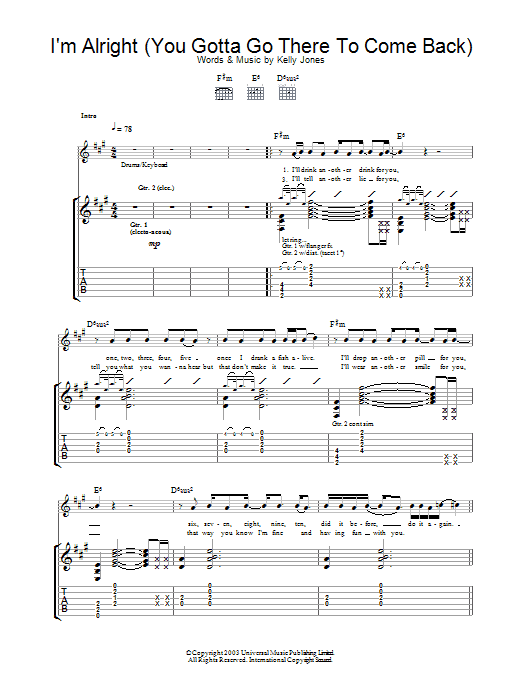 I'm Alright (You Gotta Go There To Come Back) (Guitar Tab)