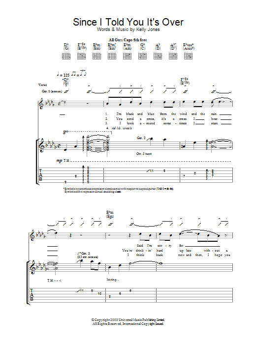 Since I Told You It's Over (Guitar Tab)