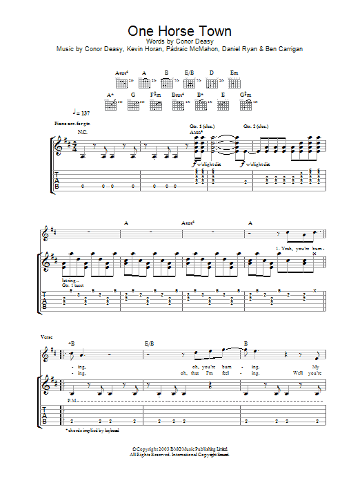 One Horse Town (Guitar Tab)