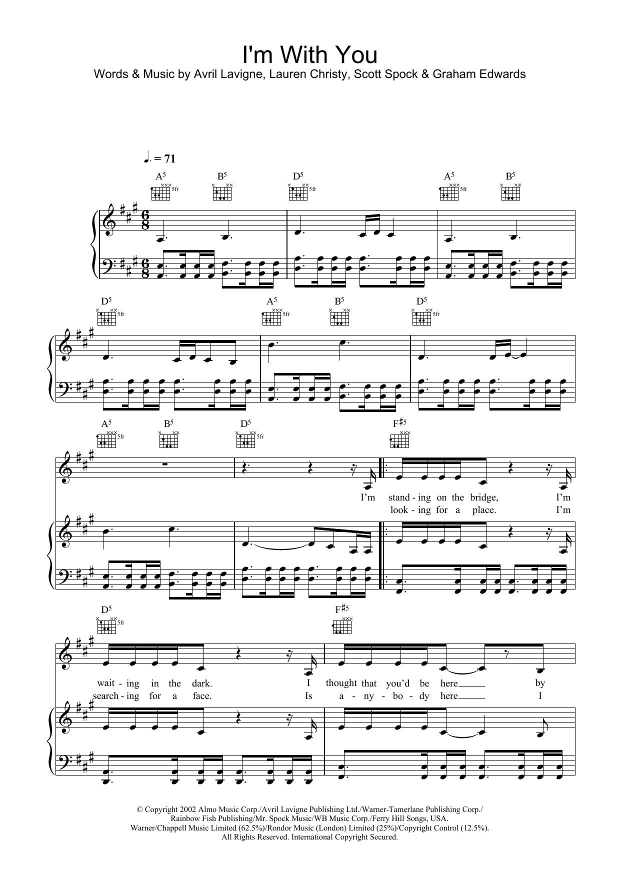 I'm With You (Piano, Vocal & Guitar)
