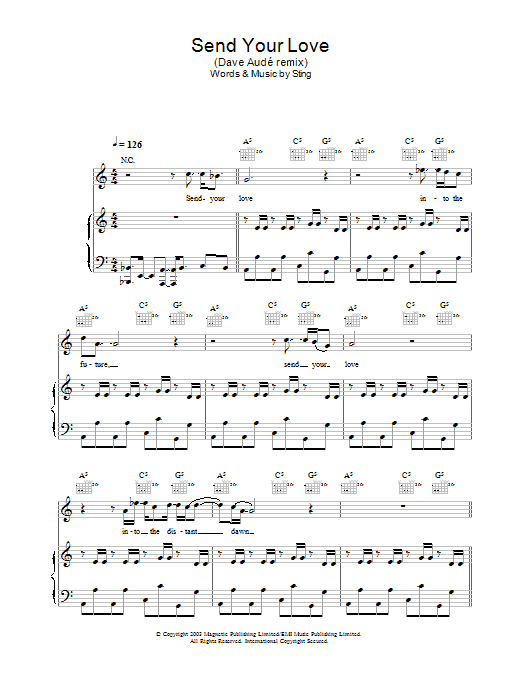 Send Your Love (Dave Audé remix) (Piano, Vocal & Guitar)