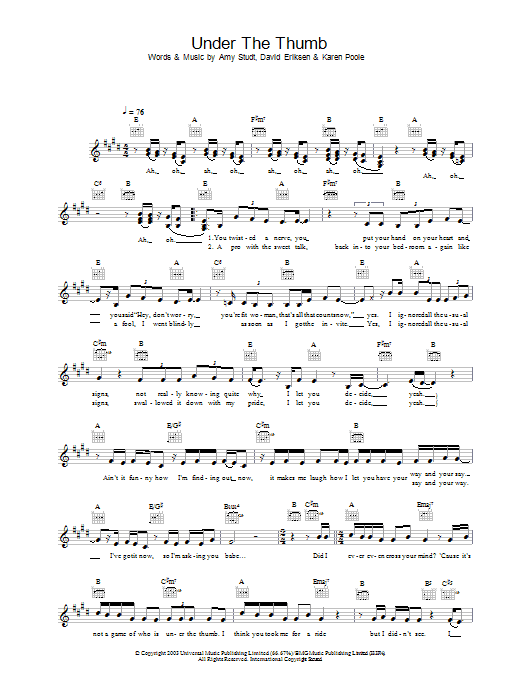Under The Thumb Sheet Music