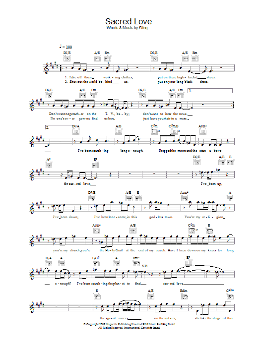 Sacred Love Sheet Music