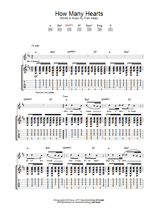 How Many Hearts (Guitar Tab)