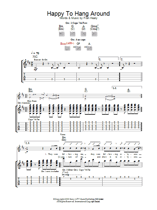 Happy To Hang Around (Guitar Tab)