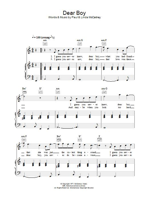 Dear Boy Sheet Music