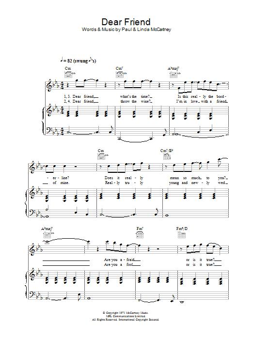 Dear Friend (Piano, Vocal & Guitar)