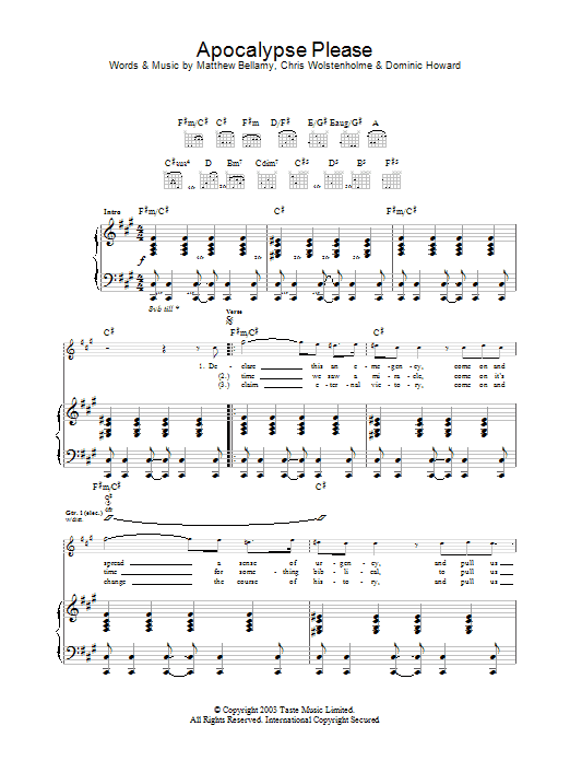 Apocalypse Please Sheet Music